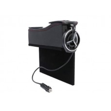 Car Seat Slot Storage Box Passenger Side with Vintage Leather, Water Cup Holder, Coin Collector and Cigarette Lighter Wire - Black
