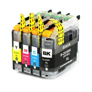 4 Pack 1BK/1C/1Y/1M Combo Brother LC203XL Ink Cartridge Black New Compatible