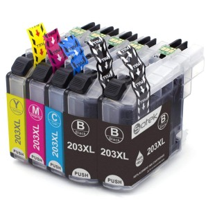 5 Pack 2BK/1C/1Y/1M Combo Brother LC203XL Ink Cartridge Black/Cyan/Magenta/Yellow New Compatible