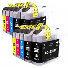 10 Pack 4BK/2C/2Y/2M Combo Brother LC203XL Ink Cartridge Black/Cyan/Magenta/Yellow New Compatible