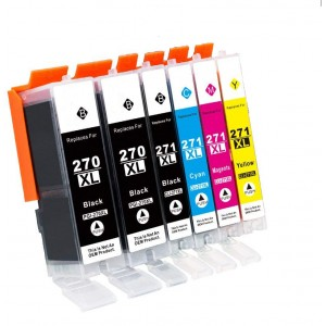 6 Pack Combo 2BK/1BK/1C/1M/1Y Canon 270XLBK 271XLBK/C/M/Y Ink Cartridge Black/Cyan/Magenta/Yellow New Compatible