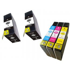 5 Pack Combo 2BK/1C/1M/1Y Canon CP-2200XL Pigment Ink Cartridge Black/Cyan/Magenta/Yellow New Compatible