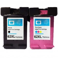 2 Pack Combo 1BK/1C HP 62XL  Remanufactured Black/Tricolor Ink Cartridge (High Yield)