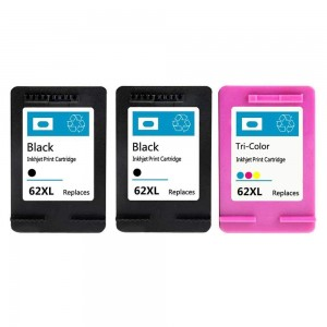 3 Pack Combo 2BK/1C HP 62XL Remanufactured Black/Tricolor Ink Cartridge (High Yield)