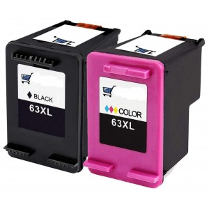 2 Pack Combo 1BK/1C HP 63XL Ink Cartridge Black/Tricolor Remanufactured