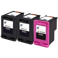 3 Pack Combo 2BK/1C HP 63XL Ink Cartridge Black/Color Remanufactured
