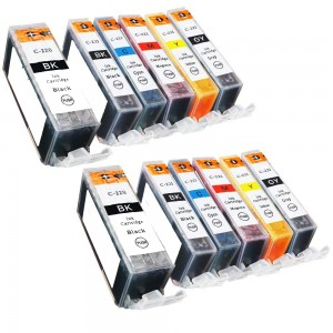 12 Pack 2BK/2BK/2C/2M/2Y/2G Combo Canon PGI220XL/CLI221XL Black/Black/Cyan/Magenta/Yellow/Grey New Compatible Ink Cartridge