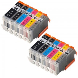 12 Pack 2BK/2BK/2C/2M/2Y/2G Combo Canon PGI250XL/CLI251XL Ink Cartridge Black/Black/Cyan/Magenta/Yellow/Grey New Compatible