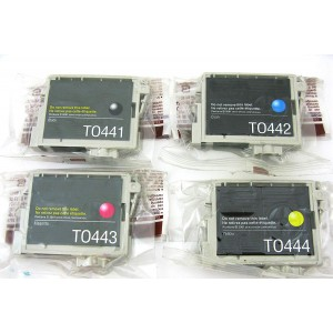 4 Pack Combo BK/C/M/Y Epson T0441 (T044120)  / T0442 (T044220) / T0443 (T044320) / T0444 (T044420) Ink Cartridge Black/Cyan/Magenta/Yellow (Canada Only)