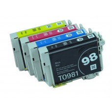 4 Pack 1BK/1C/1Y/1M Combo Epson T0981 T099 Ink Cartridge Black/Cyan/Magenta/Yellow (Canada Only) New Compatible