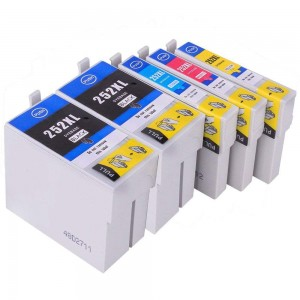 5 Pack 2BK/1C/1M/1Y Combo EPSON T252XL (2531/2/3/4) Ink Cartridge Black/Cyan/Magenta/Yellow New Compatible (Canada Only)