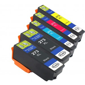 5 Pack 2BK/1C/1Y/1M Combo Epson T273 Ink Cartridge Black/Cyan/Magenta/Yellow New Compatible (Canada Only)