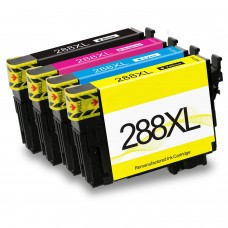 4 Pack 1BK/1C/1Y/1M Combo Epson T288XL T288XL120 T288XL220 T288XL320 T288XL420  Remanufactured Ink Cartridges Black/Cyan/Magenta/Yellow (Canada Only)