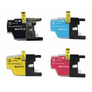 4 Pack BK/C/Y/M Combo Brother LC75XL Ink Cartridge New Compatible