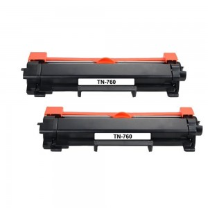 2 Pack Brother TN760 / TN730 Black Toner Cartridge New Compatible High Yield