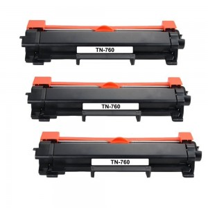 3 Pack Brother TN760 / TN730 Black Toner Cartridge New Compatible High Yield