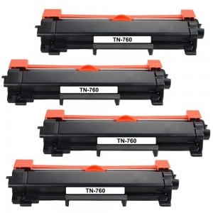 4 Pack Brother TN760 / TN730 Black Toner Cartridge New Compatible High Yield