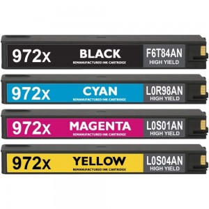 HP 972X High Yield 4 Pack Combo Black Cyan Magenta Yellow  PageWide Ink Cartridge New Compatible