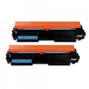 2 Pack HP 17A CF217A Black Toner Cartridge Remanufactured