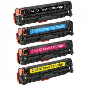 4 Pack BK/C/Y/M Combo HP CF410X CF411X CF412X CF413X Black/Cyan/Magenta/Yellow Toner Cartridge New Compatible (High Yield)