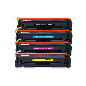 4 Pack Combo BK/C/M/Y HP 202X CF500X CF501X CF502X CF503X Black/Cyan/Magenta/Yellow Toner Cartridge New Compatible