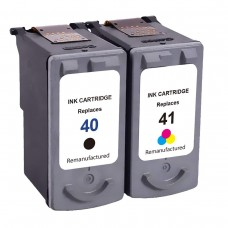 2 Pack 1PG40/1CL41 Combo Canon PG30/40/50 Ink Cartridge Black/Tricolor Remanufactured