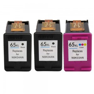 3 Pack Combo 2BK/1C HP 65XL Remanufactured Black/Tircolor Ink Cartridge (High Yield)