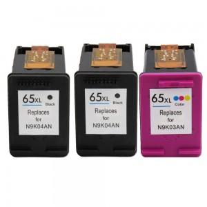 3 Pack Combo 2BK/1C HP 65XL Remanufactured Black/Tircolor Ink Cartridge (High Yield)