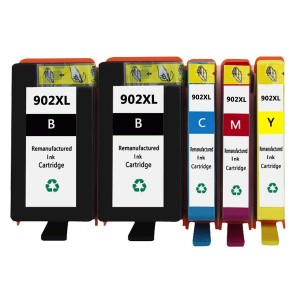 5 Pack 2BK/1C/1Y/1M Combo HP 902XL Ink Cartridge Black/Cyan/Magenta/Yellow New Compatible