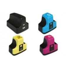 4 Pack 1BK/1C/1Y/1M Combo Hp 02 (C8721WN/C8771/2/3WN) Ink Cartridge Black/Cyan/Magenta/Yellow Remanufactured