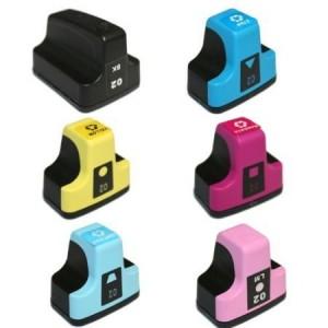 6 Pack 1BK/1C/1Y/1M/1LC/1LM Combo Hp 02  (C8721WN/C8771/2/3WN) Ink Cartridge Black/Cyan/Magenta/Yellow/Light Cyan/Light Magenta Remanufactured
