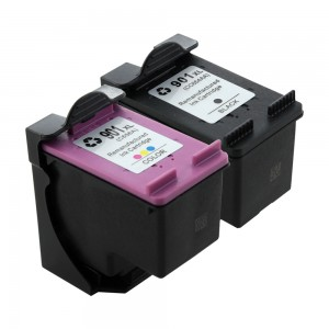 2 Pack Combo 1BK/1C HP 901XL (CC654AN/CC656A) Ink Cartridge Black/Tircolor Remanufactured (901XL)