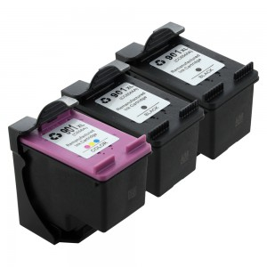 3 Pack Combo 2BK/1C HP 901XL (CC654AN/CC656A) Ink Cartridge Black/Tircolor Remanufactured (901XL)