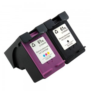 2 Pack Combo 1BK/1C Hp 61XL Ink Cartridge Black Tricolor High Yield Remanufactured