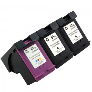 3 Pack Combo 2BK/1C Hp 61XL Ink Cartridge 2*Black 1*Tricolor High Yield Remanufactured