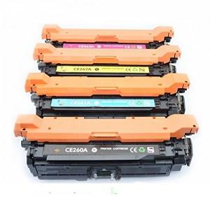 4 Pack Combo HP CE260A CE261A CE262A CE263A  Toner Cartridge Black/Cyan/Magenta/Yellow Remanufactured